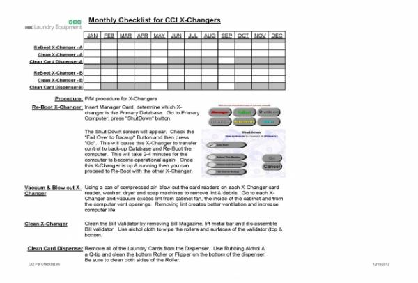 Coin & Card Operated P/M Laundromat Checklist